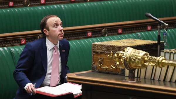 Britain's Health Secretary Matt Hancock attends a session on COVID-19 situation update at the House of Commons in London, Britain December 2, 2020.  - Sputnik International