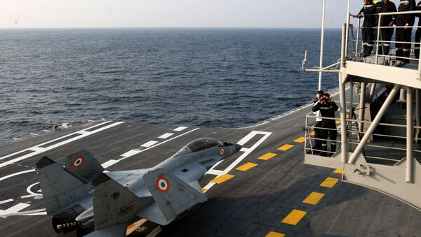In this photograph released by the Indian Ministry of Defence on January 9, 2018, shows a MiG 29K during the operational manoeuvres of the Western Fleet ships, witnessed by Minister of Defence Nirmala Sitharaman, conducted by the Indian Navy.  - Sputnik International