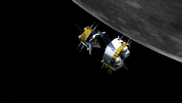 This graphic simulation image provided by China National Space Administration shows the orbiter and returner combination of China's Chang'e-5 probe after its separation from the ascender, at the Beijing Aerospace Control Center (BACC) in Beijing Sunday, Dec. 6, 2020. The Chinese probe that landed on the moon transferred rocks to an orbiter Sunday in preparation for returning samples of the lunar surface to Earth for the first time in almost 45 years, the country's space agency announced.  - Sputnik International