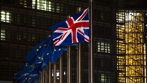 The Union Flag and European Union flags flap in the wind prior a meeting between European Commission President Ursula von der Leyen and British Prime Minister Boris Johnson at EU headquarters in Brussels, Wednesday, Dec. 9, 2020 - Sputnik International