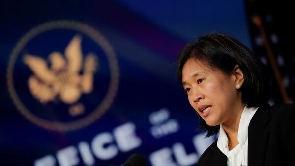 Katherine Tai, U.S. President-elect Joe Biden's nominee to be U.S. Trade Representative, speaks after Biden announced her nomination during a fresh round of nominations and appointments at a news conference at his transition headquarters in Wilmington, Delaware, U.S., December 11, 2020. - Sputnik International