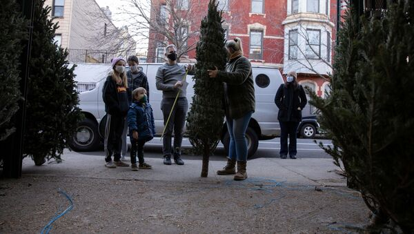 Doug Hassebroek inspects a potential Christmas tree with his family, as the global outbreak of the coronavirus disease (COVID-19) continues, in Brooklyn, New York, U.S., December 6, 2020. - Sputnik International