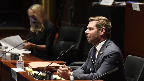 Rep. Eric Swalwell, D-Calif., right, speaks during a House Judiciary Committee hearing on Capitol Hill in Washington, Wednesday, June 24, 2020, on oversight of the Justice Department and a probe into the politicization of the department under Attorney General William Barr.  - Sputnik International