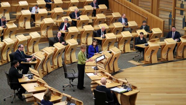 Scottish First Minister Nicola Sturgeon attends the First Minister's Questions at the parliament in Edinburgh, Scotland, Britain December 10, 2020. - Sputnik International