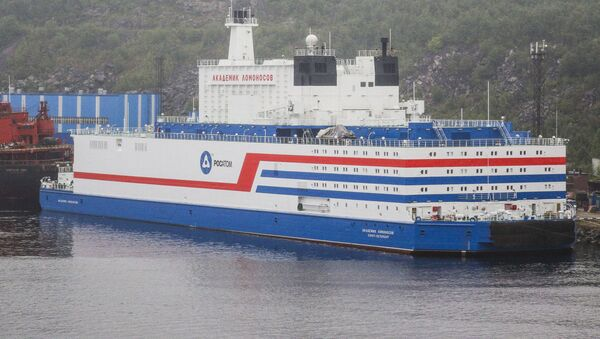 The world's first floating nuclear power plant (NPP) Akademik Lomonosov is pictured at the port of Murmansk, Russia.  - Sputnik International