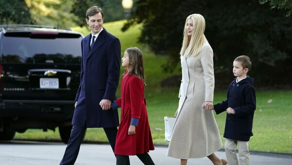 White House adviser Jared Kushner, from left, and daughter Arabella Kushner, walk with his wife Ivanka Trump and their son Joseph as they prepare to board Marine One with President Donald Trump on the South Lawn of the White House, Tuesday, Sept. 22, 2020 - Sputnik International
