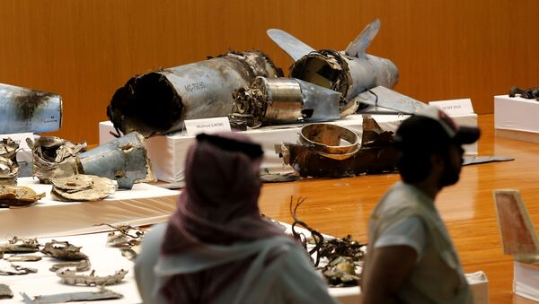 In this Sept. 18, 2019 file photo, the Saudi military displays what they say are an Iranian cruise missile and drones used in recent attacks on its oil industry at Saudi Aramco's facilities in Abqaiq and Khurais, during a press conference in Riyadh, Saudi Arabia.  - Sputnik International