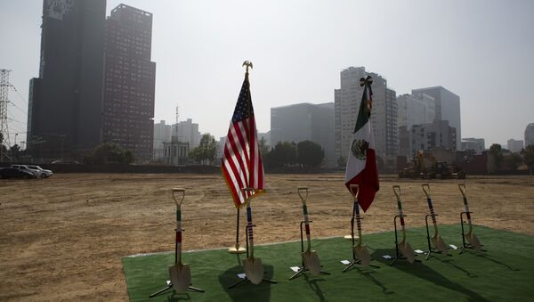Shovels decorated with the colors of the Mexican and U.S. flags are lined up ahead of a groundbreaking ceremony for the new U.S. embassy, slated to cost nearly $1 billion, in Mexico City, Tuesday, Feb. 13, 2018. Work has begun on the long-awaited new embassy in Mexico City which is being built on a former industrial site that required extensive toxic cleanup and will be one of the most expensive U.S. embassies in the world. - Sputnik International