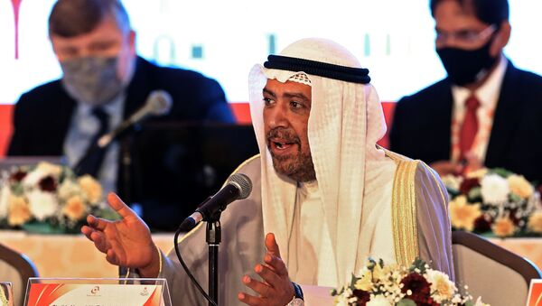 President of the Olympic Council of Asia Ahmad al-Fahad al-Sabah speaks during the 39th Olympic Council of Asia (OCA) General Assembly Meeting in the Omani capital Muscat on December 16, 2020 in which they will select host city for 2030 Asian Games.  - Sputnik International
