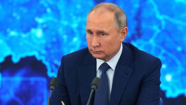 Russian President Vladimir Putin during his annual press conference on 17 December 2020 - Sputnik International