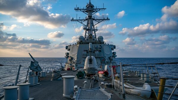This US Navy photo released April 29, 2020 shows The Arleigh-Burke class guided-missile destroyer USS Barry (DDG 52) conducting underway operations on April 28, 2020 in the South China Sea - Sputnik International