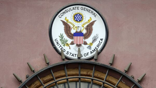 American emblem seen on the building of the US consulate in St. Petersburg - Sputnik International