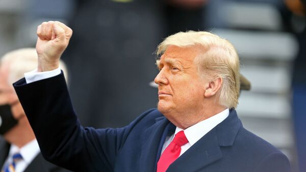 Dec 12, 2020; West Point, New York, USA; President Donald J. Trump walks on to the field before the first half of the Army-Navy game at Michie Stadium. Mandatory Credit: Danny Wild-USA TODAY Sports - Sputnik International