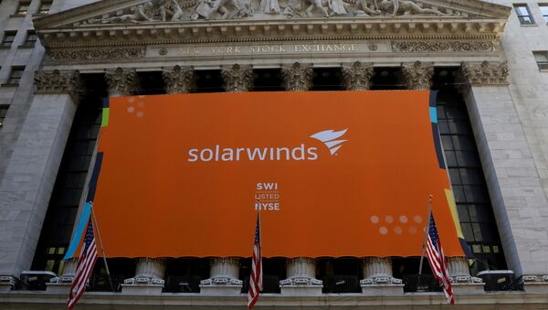 SolarWinds Corp banner hangs at the New York Stock Exchange (NYSE) on the IPO day of the company in New York, U.S., October 19, 2018 - Sputnik International