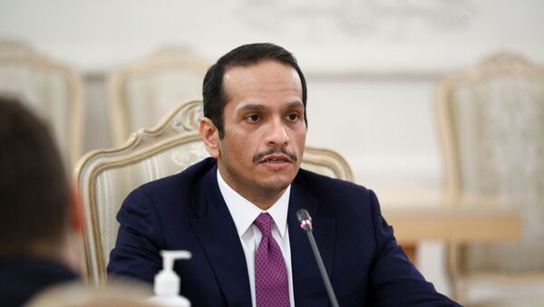 Qatari Foreign Minister Mohammed bin Abdulrahman Al-Thani attends a meeting with his Russian counterpart Sergei Lavrov in Moscow, Russia December 23, 2020. - Sputnik International
