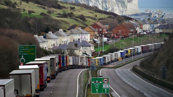 Lorries queue on the A20 road to enter the Port of Dover to board ferries to Europe, in Dover, Britain - Sputnik International