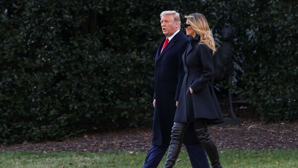 US President Donald Trump, accompanied by first lady Melania Trump, departs from the White House for holiday travel to his home in Florida, in Washington, US, 23 December 2020.  - Sputnik International