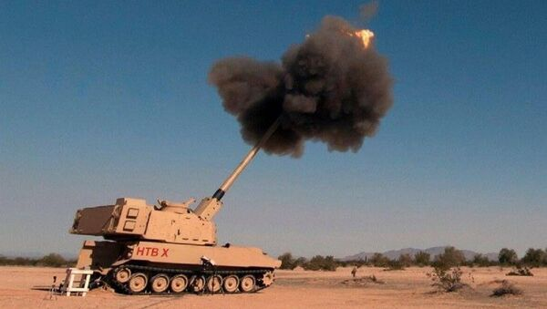 A photo of the US army's Extended Range Cannon Artillery during tests, posted on Twitter - Sputnik International