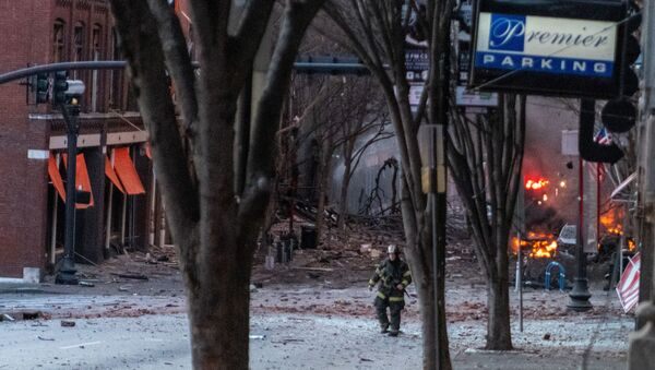 Debris litters the road near the site of an explosion in the area of Second and Commerce in Nashville, Tennessee, U.S. December 25, 2020. - Sputnik International