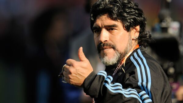 Argentina's head coach Diego Maradona before the 2010 FIFA World Cup group stage match between the national teams of Argentina and Nigeria. - Sputnik International