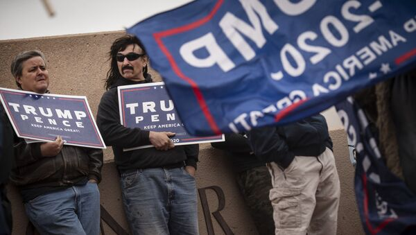Supporters of President Donald Trump stand outside of the Clark County Elections Department in North Las Vegas, Nev. Saturday, Nov. 7, 2020. - Sputnik International