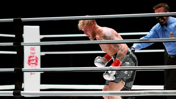 Jake Paul reacts over his knockout victory against Nate Robinson in the second round during Mike Tyson vs Roy Jones Jr. presented by Triller at Staples Center on November 28, 2020 in Los Angeles, California. - Sputnik International