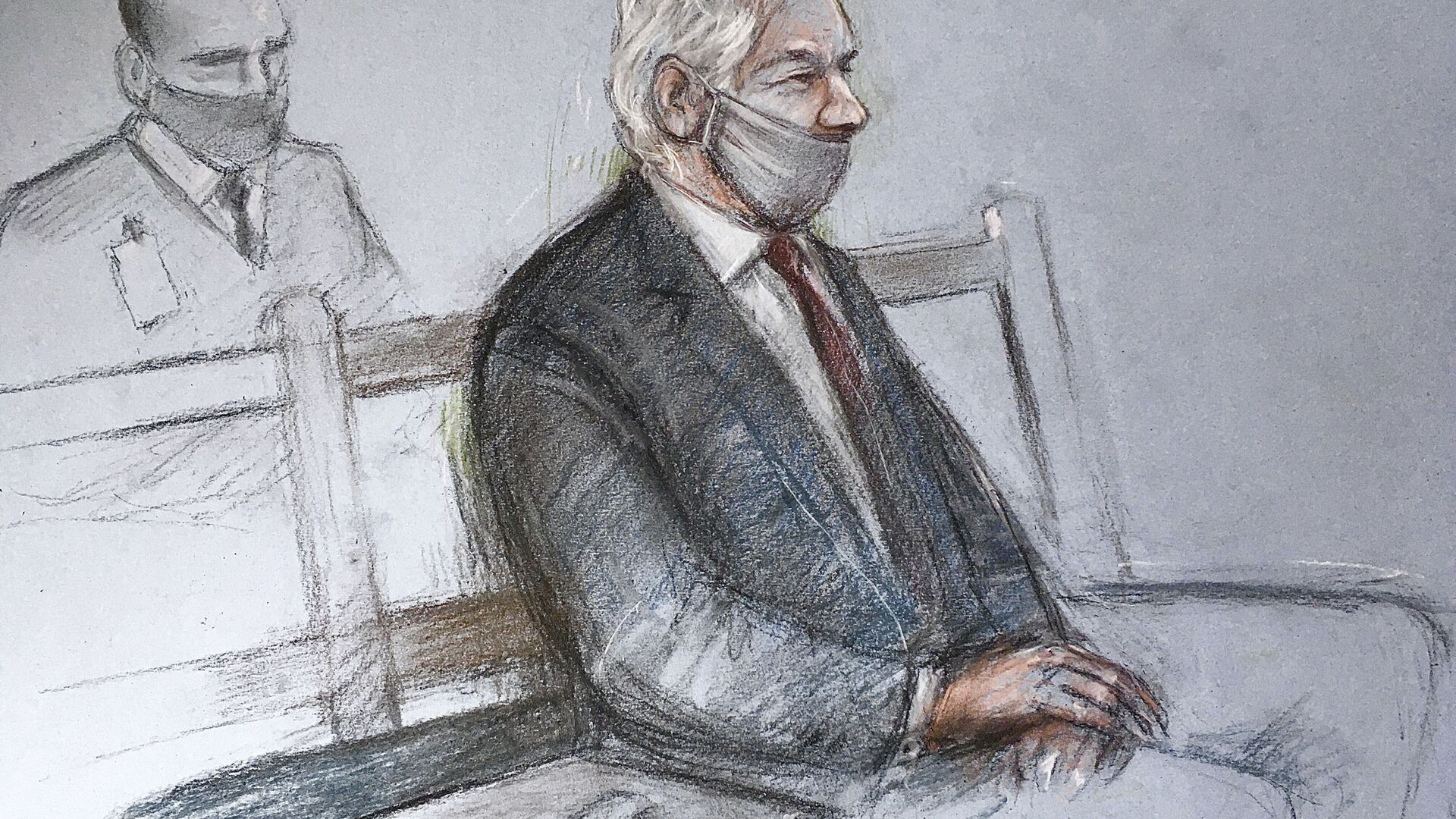 """This is a court artist sketch by Elizabeth Cook of Julian Assange appearing at the Old Bailey in London for the ruling in his extradition case, in London, Monday, Jan. 4, 2021. A British judge has rejected the United States' request to extradite WikiLeaks founder Julian Assange to face espionage charges, saying it would be """"oppressive"""" because of his mental health. District Judge Vanessa Baraitser said Assange was likely to kill himself if sent to the U.S. The U.S. government said it would appeal the decision.  (Elizabeth Cook/PA via AP) - Sputnik International, 1920, 11.08.2021"""