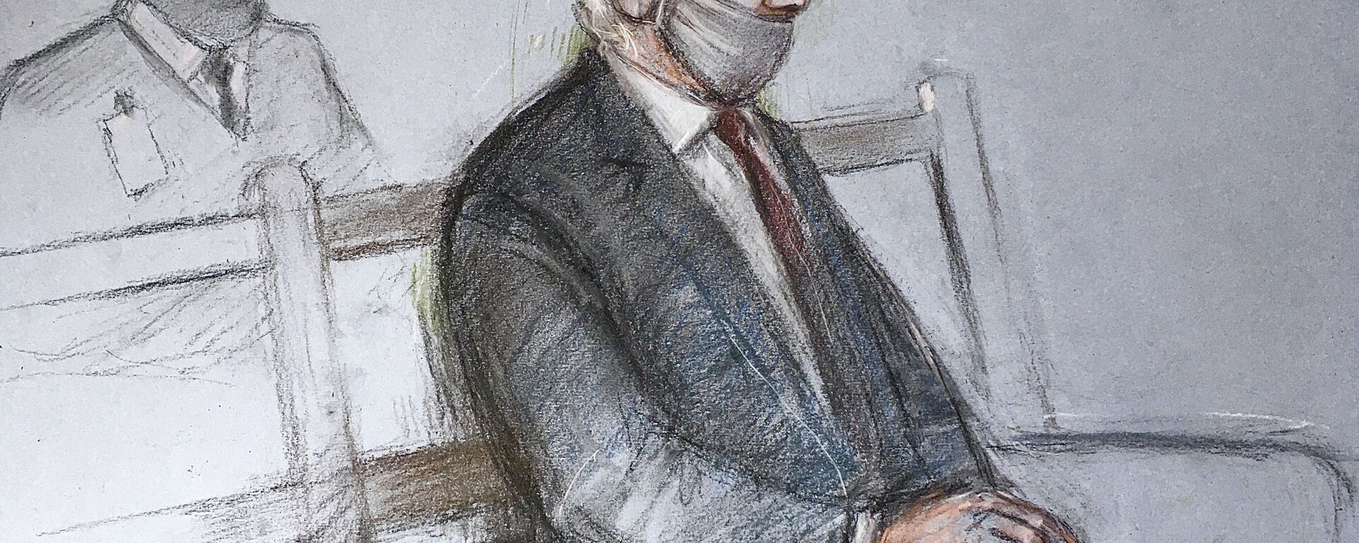 """This is a court artist sketch by Elizabeth Cook of Julian Assange appearing at the Old Bailey in London for the ruling in his extradition case, in London, Monday, Jan. 4, 2021. A British judge has rejected the United States' request to extradite WikiLeaks founder Julian Assange to face espionage charges, saying it would be """"oppressive"""" because of his mental health. District Judge Vanessa Baraitser said Assange was likely to kill himself if sent to the U.S. The U.S. government said it would appeal the decision.  (Elizabeth Cook/PA via AP) - Sputnik International, 1920, 02.07.2021"""