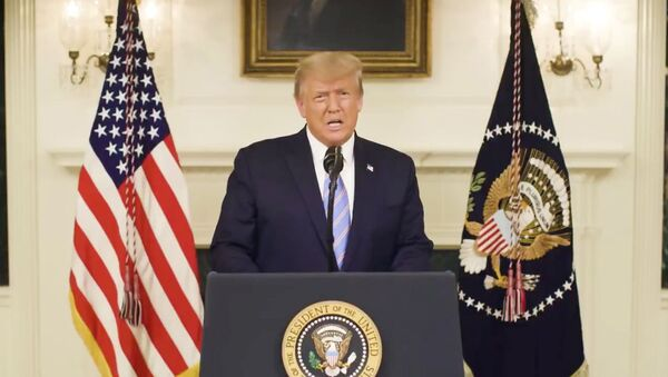 US President Donald Trump gives an address, a day after his supporters stormed the Capitol in Washington,  DC, in this still image taken from video provided on social media on  8 January 2021. - Sputnik International