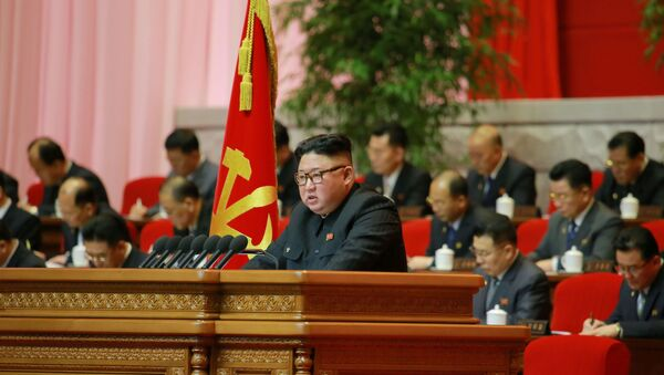 North Korean leader Kim Jong Un attends the 8th Congress of the Workers' Party in Pyongyang, North Korea, in this photo supplied by North Korea's Central News Agency (KCNA) on 7 January 2021 - Sputnik International