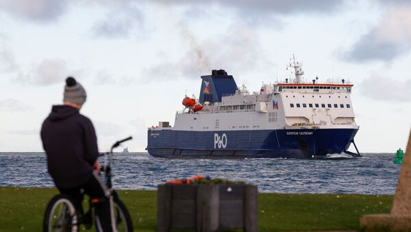 A person on a bike is seen as a ferry arrives at the Port of Larne, Northern Ireland Britain January 1, 2021 - Sputnik International