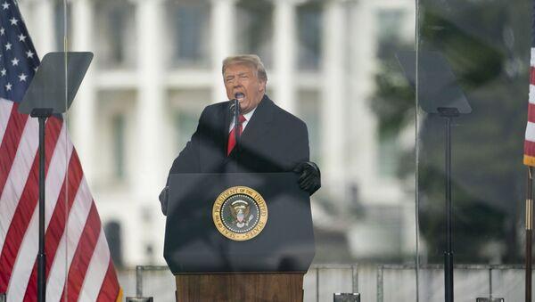 President Donald Trump speaks during a rally protesting the electoral college certification of Joe Biden as President, Wednesday, Jan. 6, 2021, in Washington - Sputnik International
