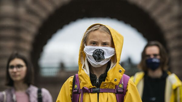 Swedish climate activist Greta Thunberg protests during a Fridays for Future protest in front of the Swedish Parliament Riksdagen in Stockholm on October 9, 2020 - Sputnik International