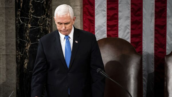 Vice President Mike Pence officiates as a joint session of the House and Senate convenes to confirm the Electoral College votes cast in November's election, at the Capitol in Washington, Wednesday, Jan. 6, 2021. - Sputnik International