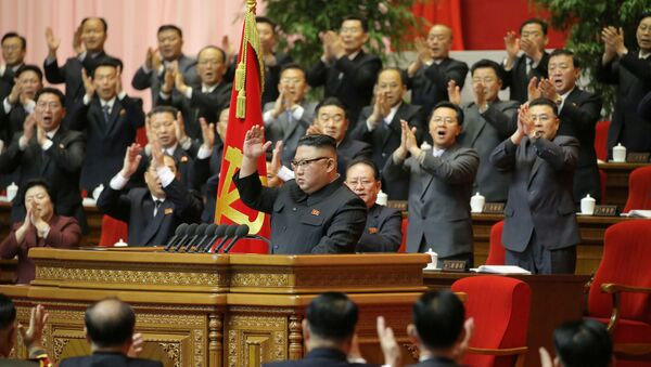 North Korean leader Kim Jong Un receives applause during the 8th Congress of the Workers' Party in Pyongyang, North Korea, in this photo supplied by North Korea's Central News Agency (KCNA) on January 13, 2021 - Sputnik International