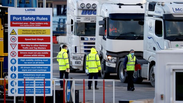 People inspect lorries which arrived at the Port of Larne, Northern Ireland Britain January 1, 2021 - Sputnik International