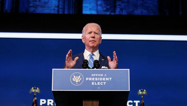 U.S. President-elect Joe Biden delivers remarks during a televised speech on the current economic and health crises at The Queen Theatre in Wilmington, Delaware, U.S., January 14, 2021 - Sputnik International