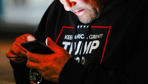 A man wearing a Trump 2020 sweatshirt uses his mobile phone during a Stop the Steal protest outside Milwaukee Central Count - Sputnik International