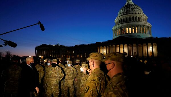 Vice President Mike Pence speaks to National Guard troops outside the US Capitol, January 14, 2021, in Washington - Sputnik International