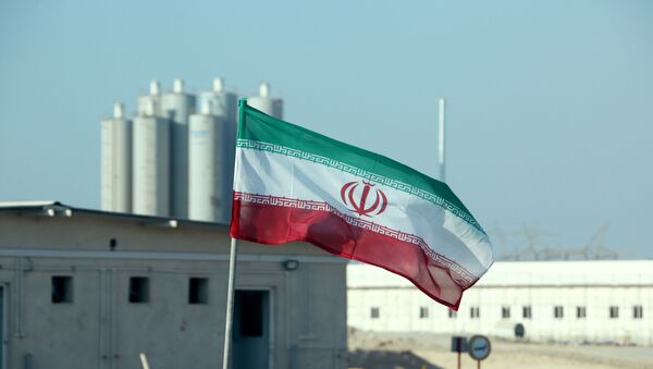 A picture taken on November 10, 2019, shows an Iranian flag in Iran's Bushehr nuclear power plant, during an official ceremony to kick-start works on a second reactor at the facility. - Bushehr is Iran's only nuclear power station and is currently running on imported fuel from Russia that is closely monitored by the UN's International Atomic Energy Agency. - Sputnik International
