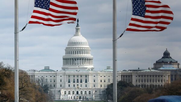 American flags fly on National Mall with U.S. Capitol on background as high-wind weather conditions continue in Washington - Sputnik International