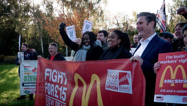 Picket at McDonald's workers' strike - Sputnik International