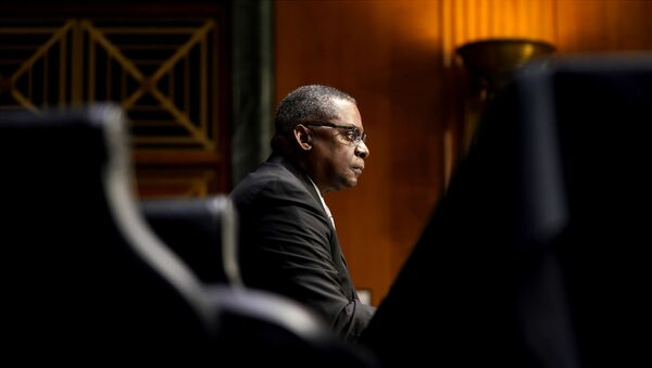 U.S. President-elect Joe Biden's nominee for Secretary of Defense Retired Army Gen. Lloyd Austin answers questions during his confirmation before the Senate Armed Services Committee in Washington, U.S. January 19, 2021. - Sputnik International