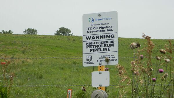 A sign in Steele City, Nebraska where the Keystone XL pipeline would terminate - Sputnik International