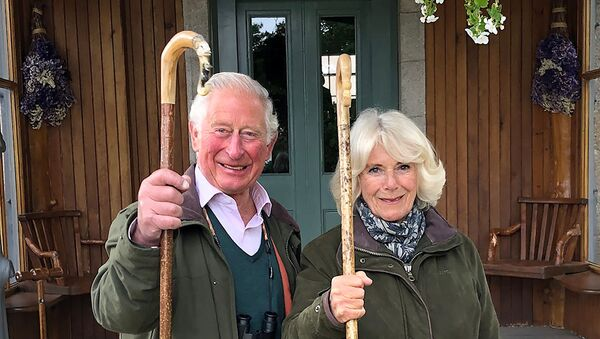 Britain's Prince Charles, Prince of Wales and Camilla, Duchess of Cornwall holding shepherd's crooks pose for a photo at Birkhall on the Balmoral Estate, in Scotland, Britain - Sputnik International