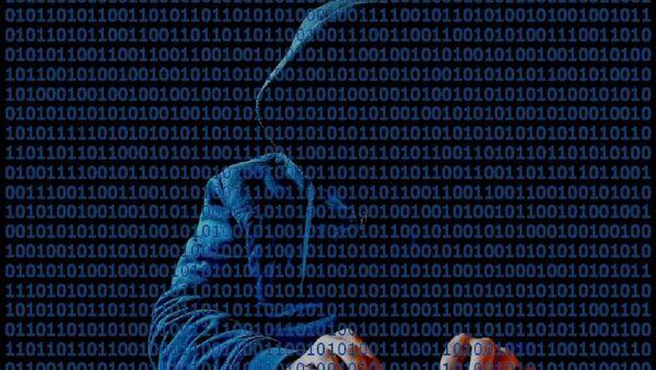 Hooded hacker at keyboard with binary code in front - Sputnik International