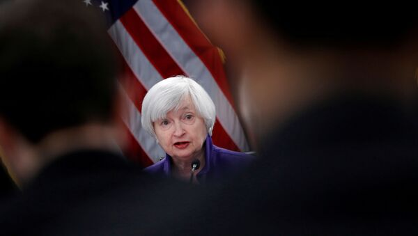 U.S. outgoing Federal Reserve Chair Janet Yellen holds a news conference after a two-day Federal Open Market Committee (FOMC) meeting in Washington, U.S. December 13, 2017. - Sputnik International