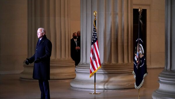 U.S. President Joe Biden addresses the nation at the Celebrating America event at the Lincoln Memorial after the inauguration of Joe Biden as the 46th President of the United States in Washington, U.S., January 20, 2021. - Sputnik International