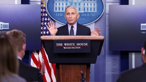 NIH National Institute of Allergy and Infectious Diseases Director Anthony Fauci addresses the daily press briefing at the White House in Washington, U.S. January 21, 2021. - Sputnik International