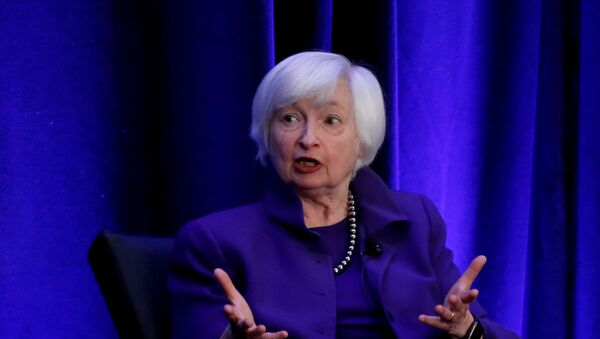 Former Federal Reserve Chairman Janet Yellen speaks during a panel discussion at the American Economic Association/Allied Social Science Association (ASSA) 2019 meeting in Atlanta, Georgia, U.S., January 4, 2019.  - Sputnik International